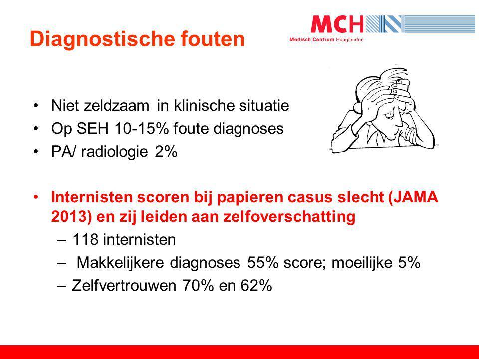 Diagnostische fouten Niet zeldzaam in klinische situatie