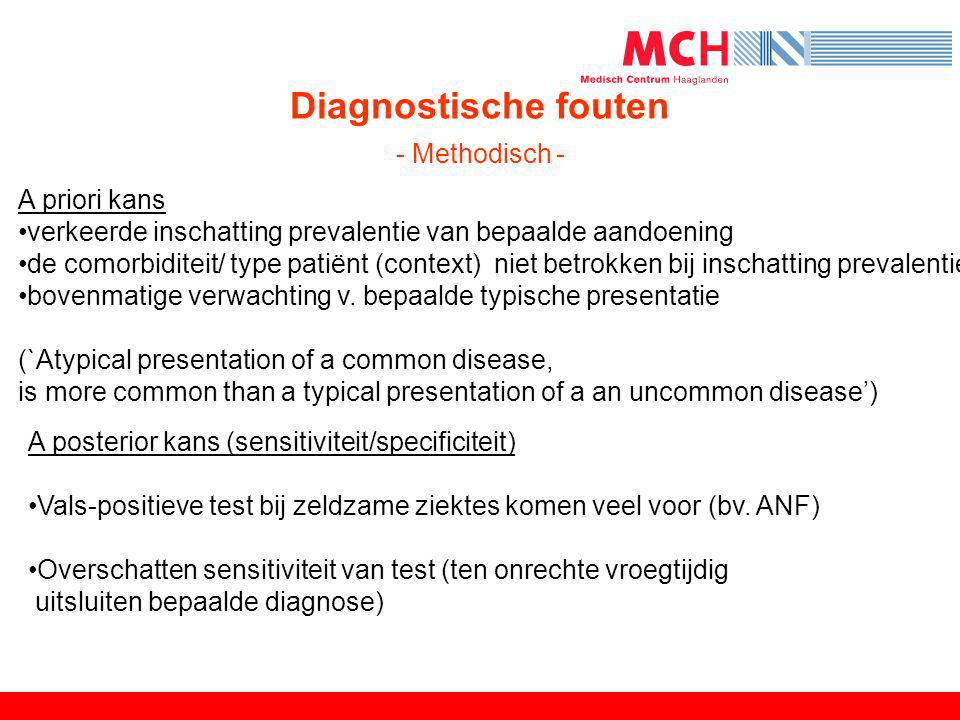 Diagnostische fouten - Methodisch -