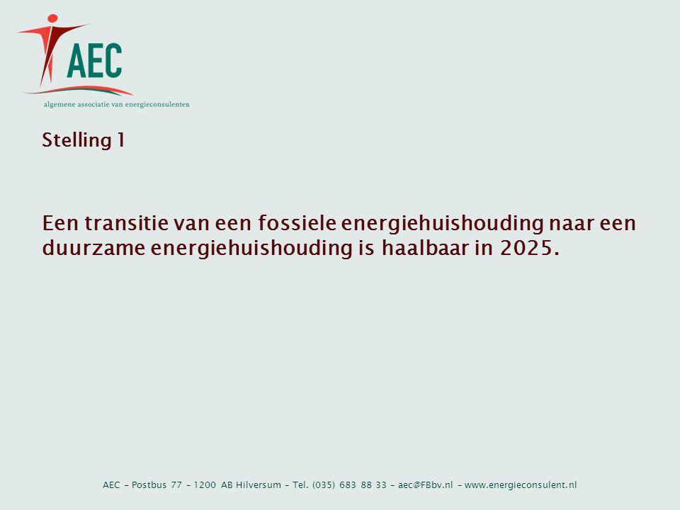Stelling 1 Een transitie van een fossiele energiehuishouding naar een duurzame energiehuishouding is haalbaar in 2025.