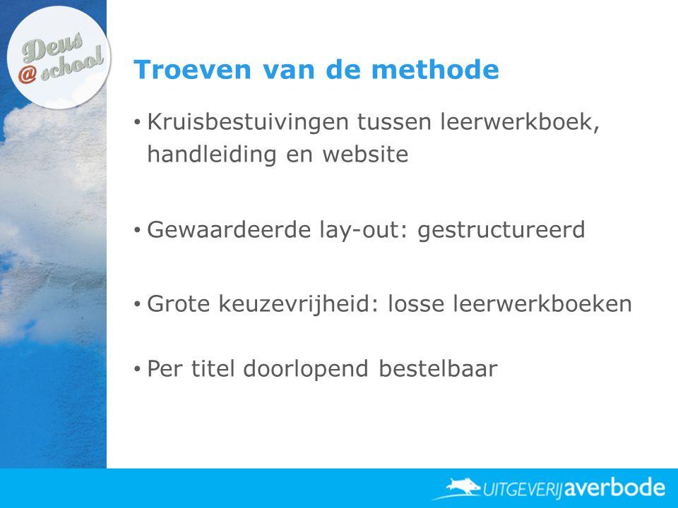 Troeven van de methode Kruisbestuivingen tussen leerwerkboek, handleiding en website. Gewaardeerde lay-out: gestructureerd.