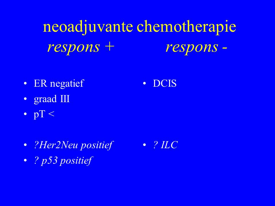 neoadjuvante chemotherapie respons + respons -