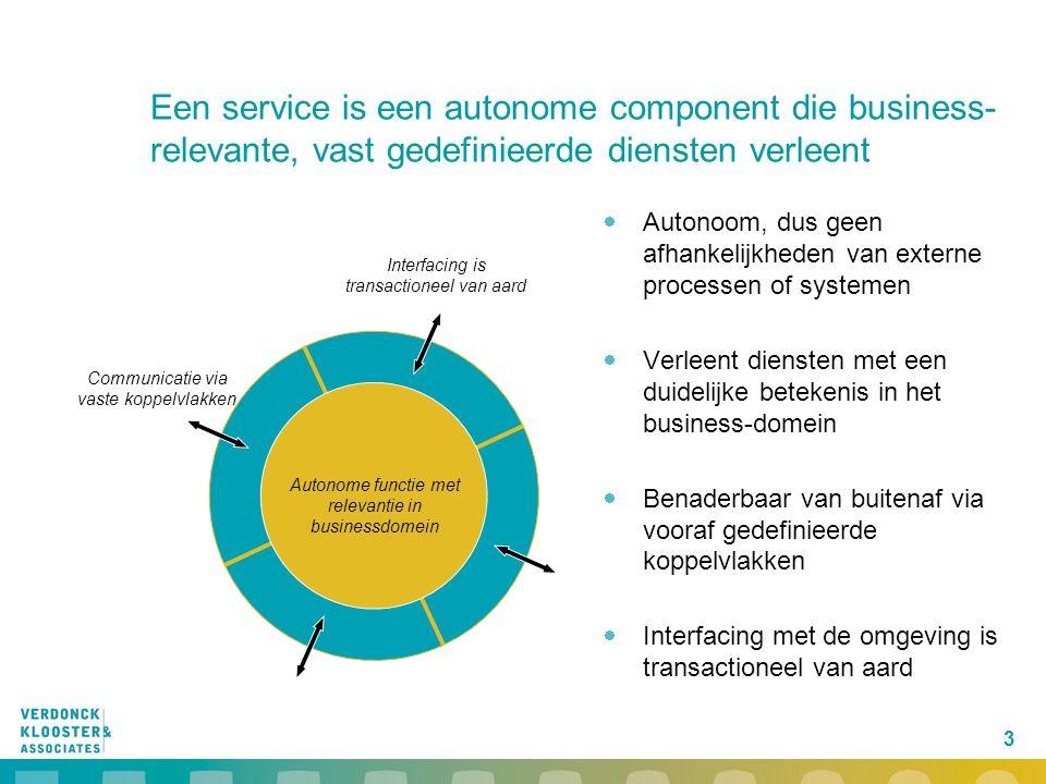 Een service is een autonome component die business-relevante, vast gedefinieerde diensten verleent