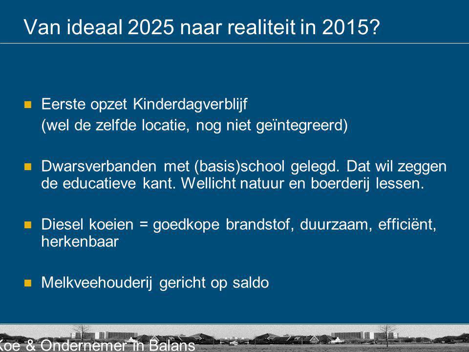 Van ideaal 2025 naar realiteit in 2015
