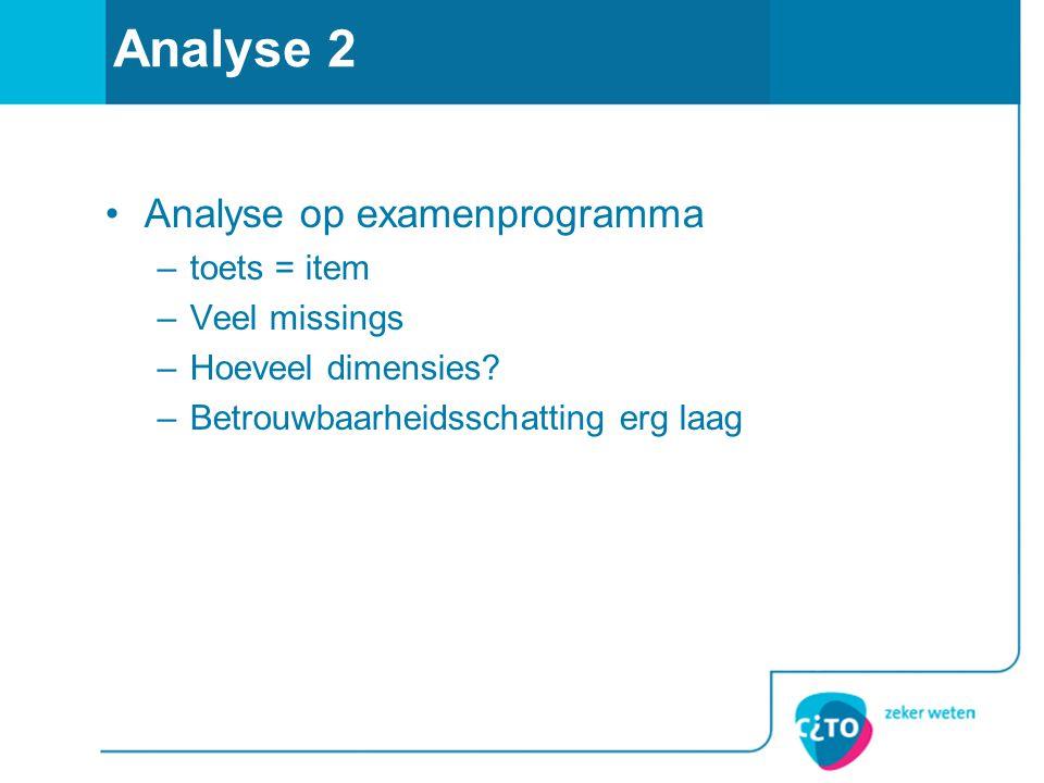 Analyse 2 Analyse op examenprogramma toets = item Veel missings