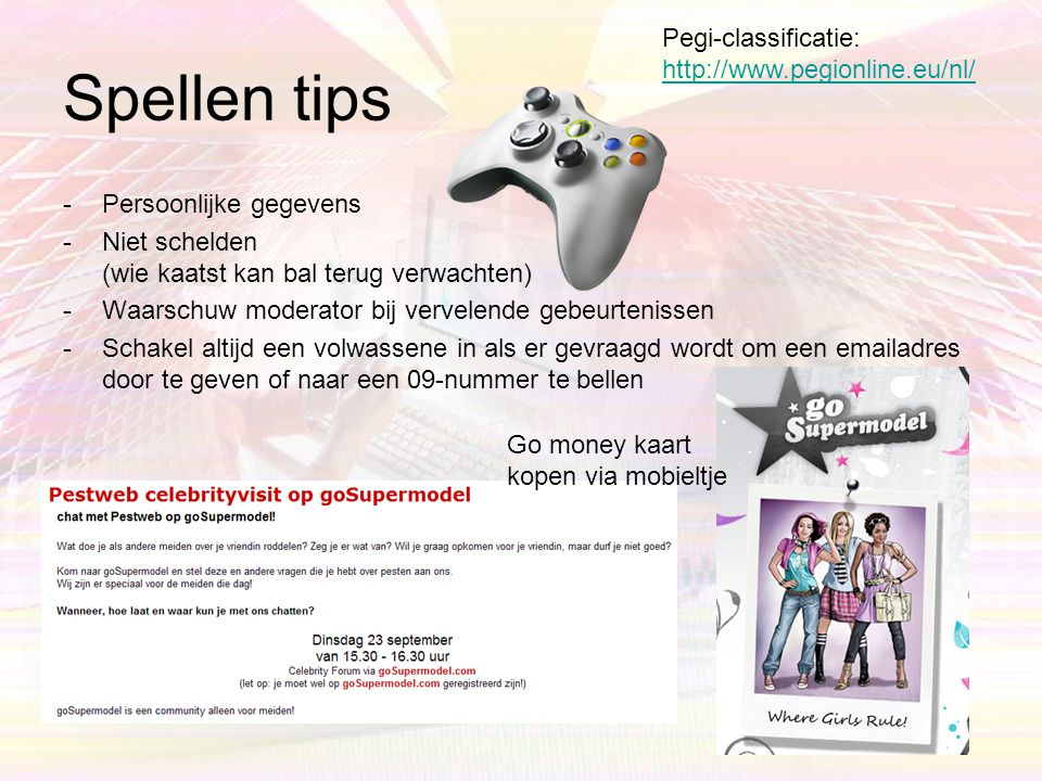 Spellen tips Pegi-classificatie: