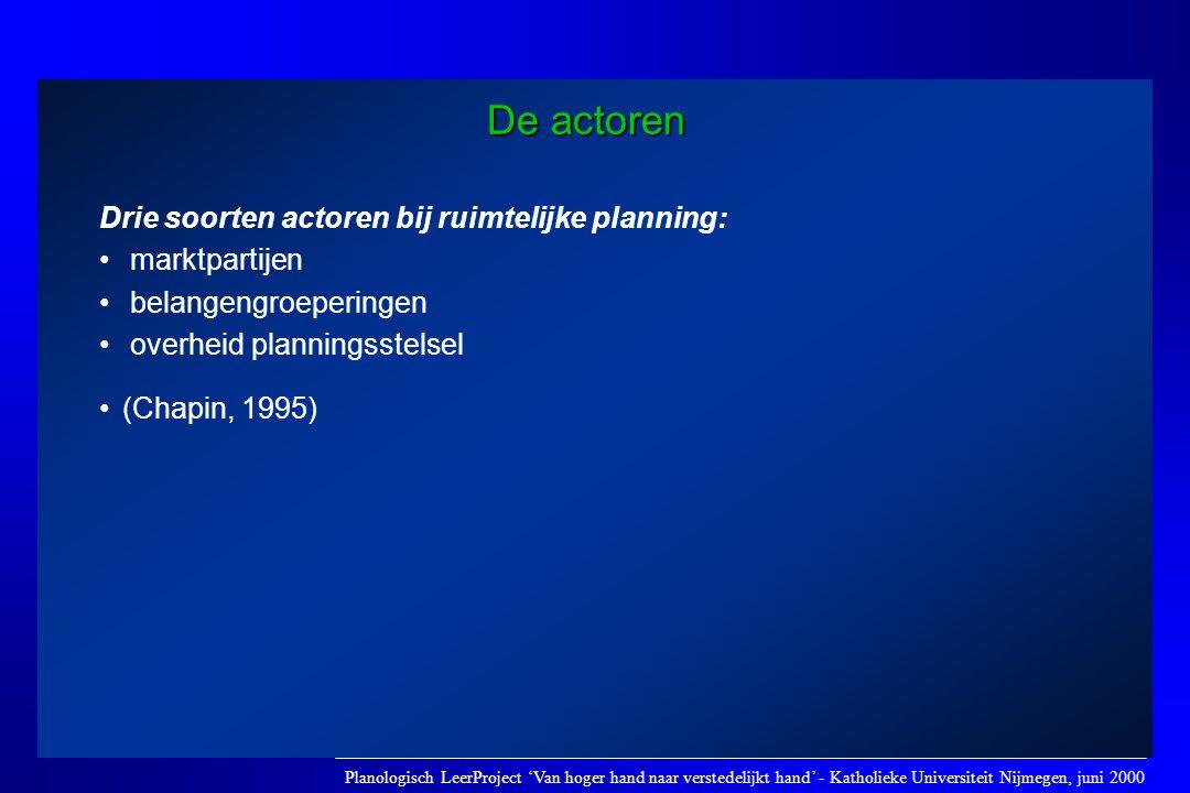 De actoren Drie soorten actoren bij ruimtelijke planning: