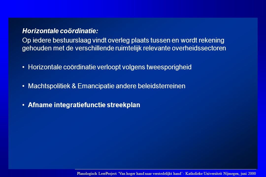 Horizontale coördinatie: