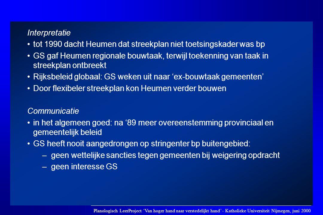 tot 1990 dacht Heumen dat streekplan niet toetsingskader was bp