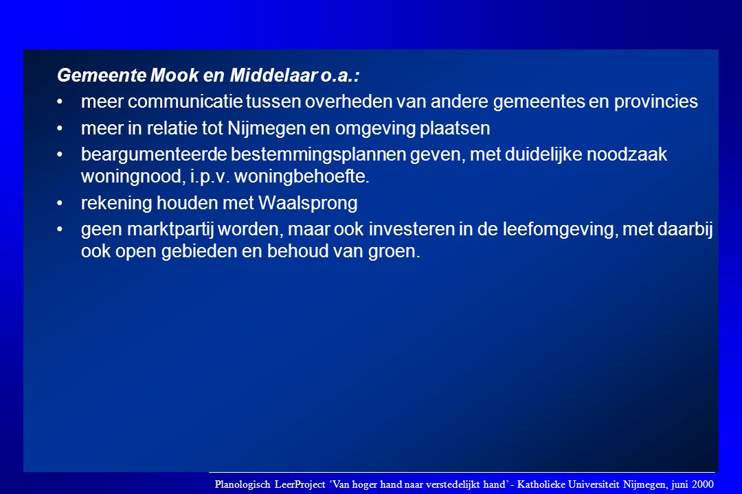 Gemeente Mook en Middelaar o.a.: