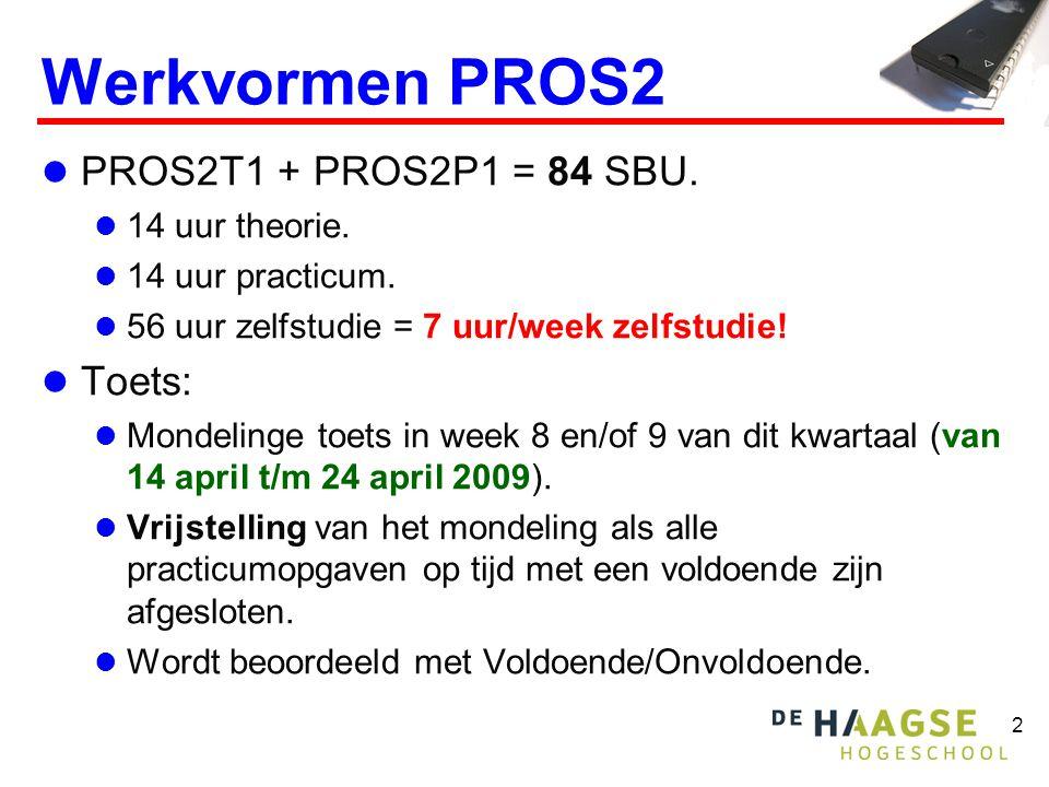 Werkvormen PROS2 PROS2T1 + PROS2P1 = 84 SBU. Toets: 14 uur theorie.