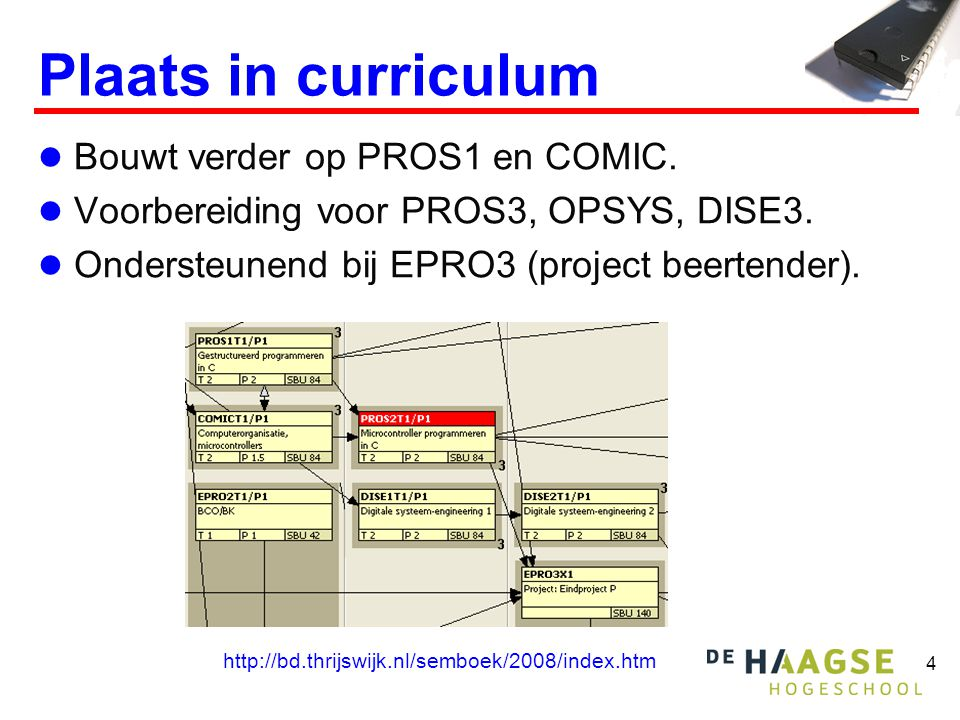 Plaats in curriculum Bouwt verder op PROS1 en COMIC.