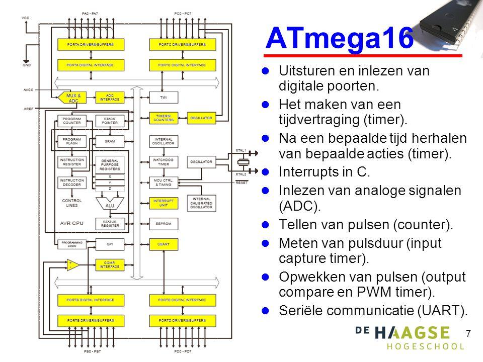 ATmega16 Uitsturen en inlezen van digitale poorten.