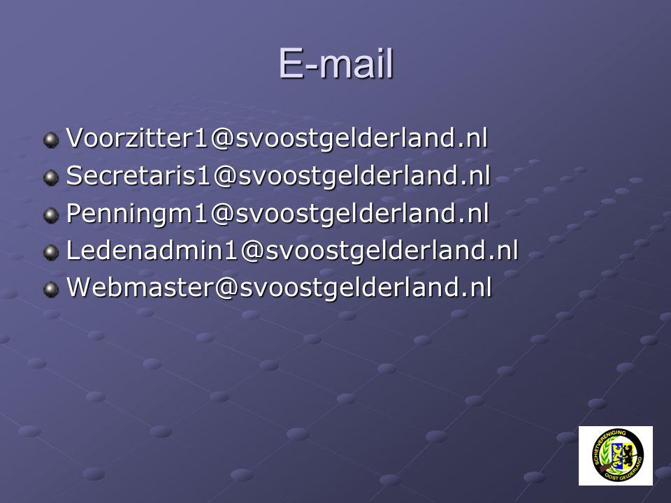 E-mail Voorzitter1@svoostgelderland.nl Secretaris1@svoostgelderland.nl