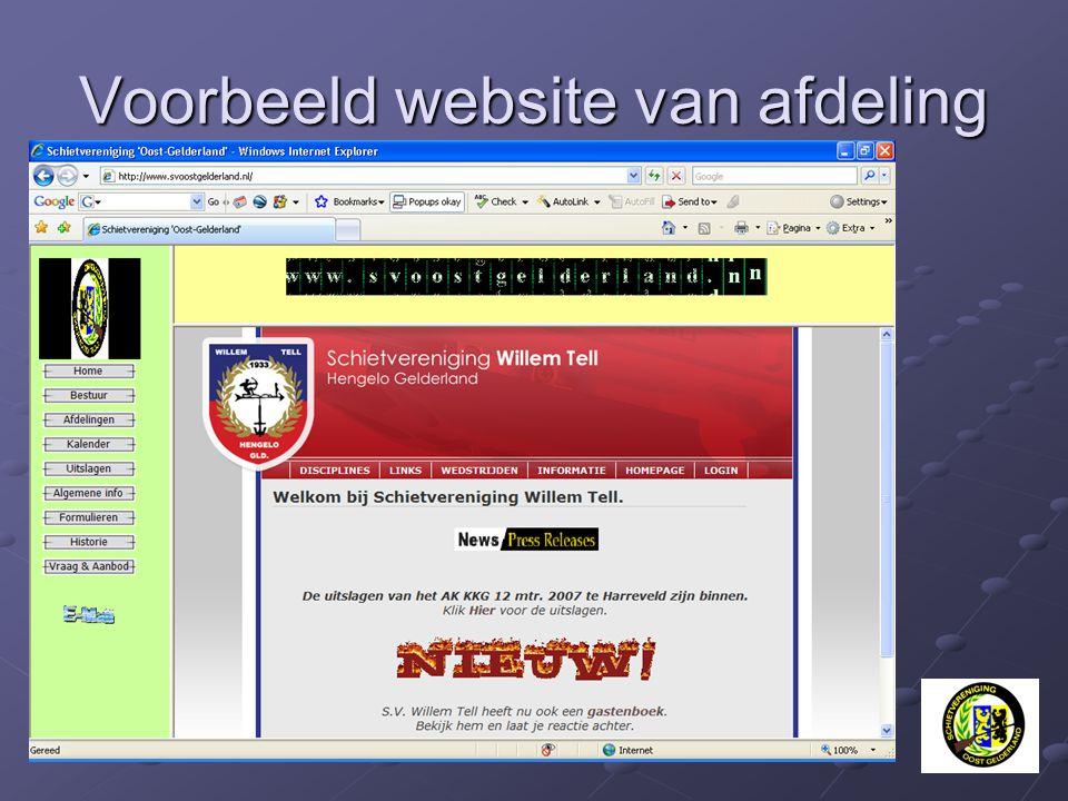 Voorbeeld website van afdeling