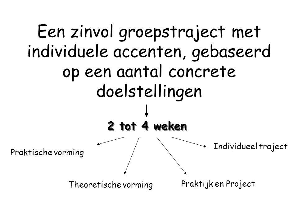Een zinvol groepstraject met individuele accenten, gebaseerd op een aantal concrete doelstellingen