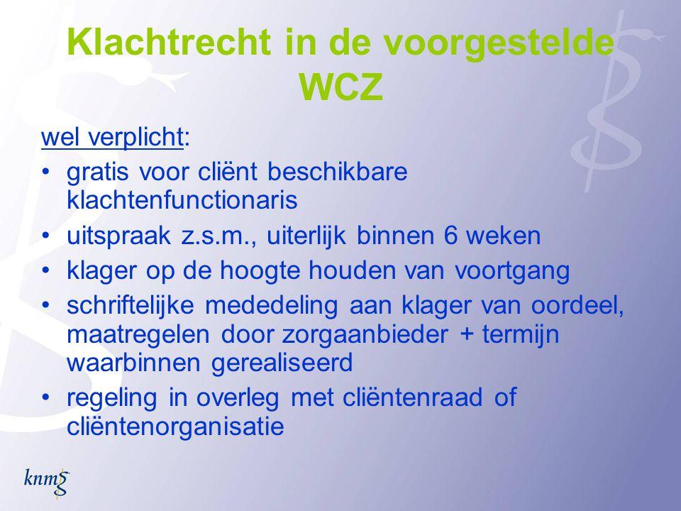 Klachtrecht in de voorgestelde WCZ