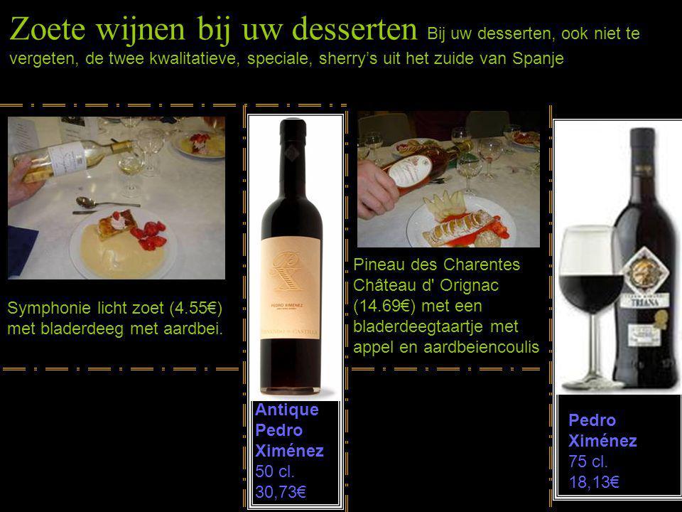 Zoete wijnen bij uw desserten Bij uw desserten, ook niet te vergeten, de twee kwalitatieve, speciale, sherry's uit het zuide van Spanje