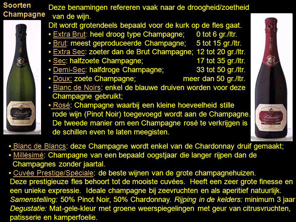 Soorten Champagne Deze benamingen refereren vaak naar de droogheid/zoetheid. van de wijn.