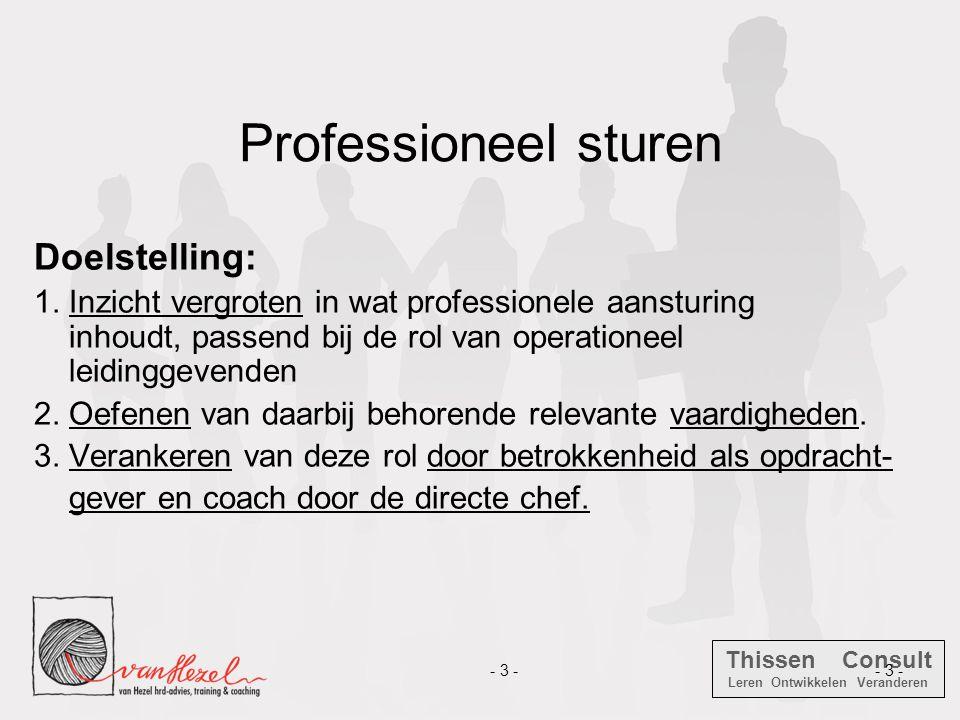Professioneel sturen Doelstelling: