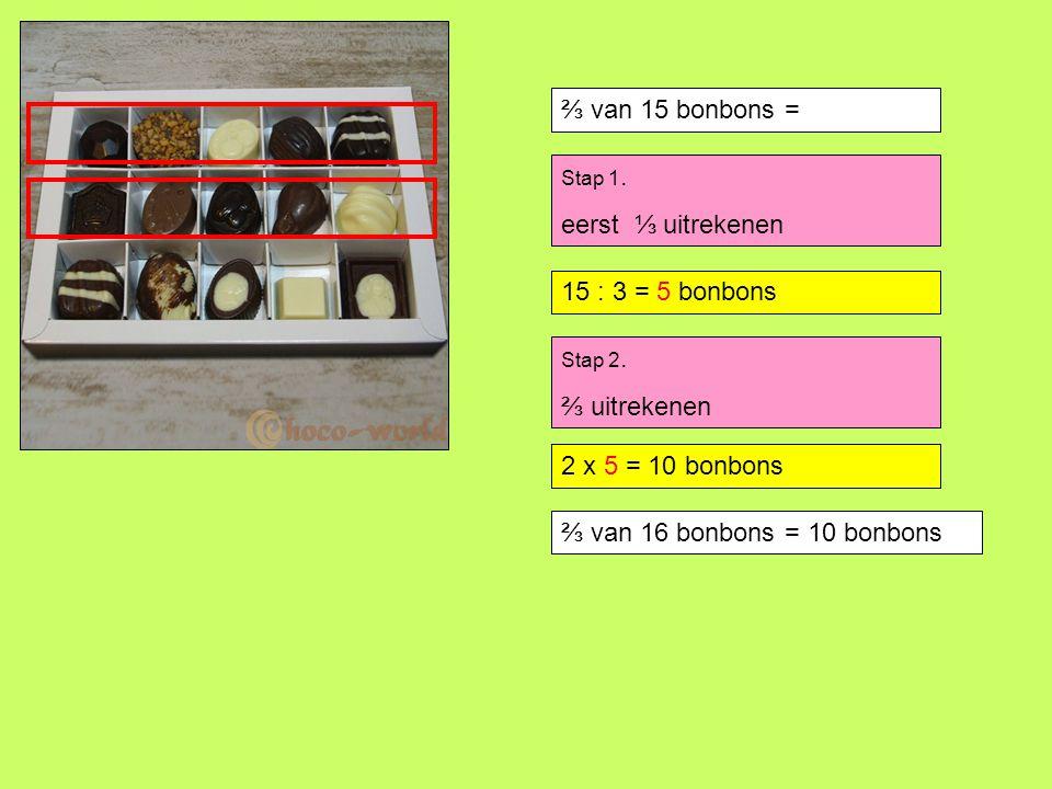 ⅔ van 15 bonbons = eerst ⅓ uitrekenen 15 : 3 = 5 bonbons