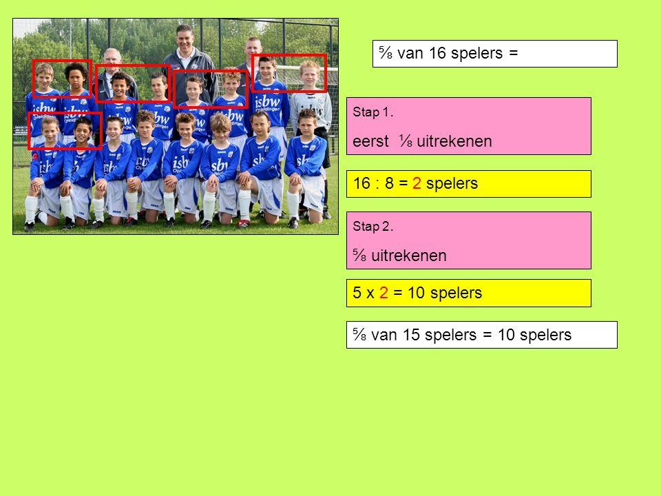 ⅝ van 16 spelers = eerst ⅛ uitrekenen 16 : 8 = 2 spelers