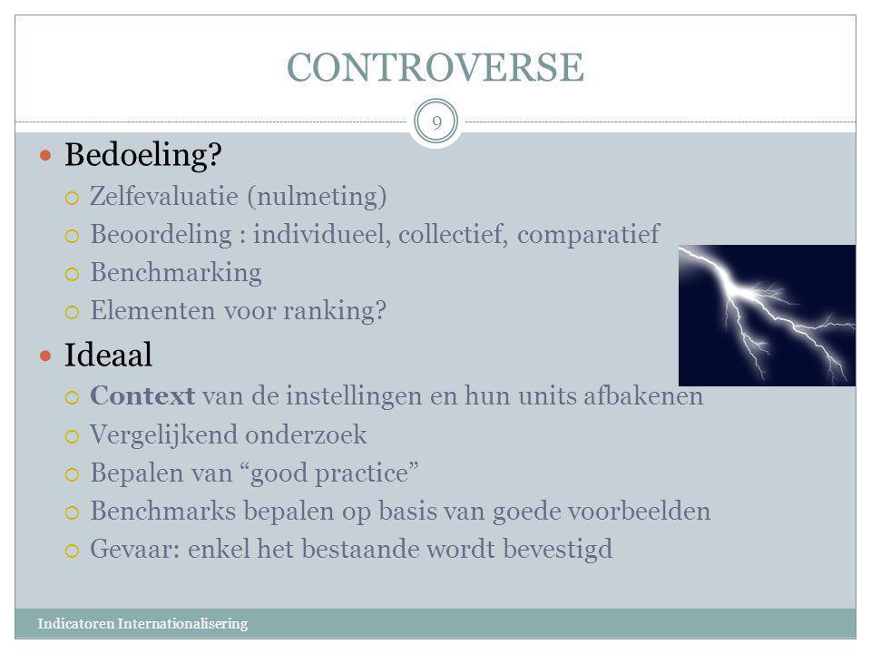 CONTROVERSE Bedoeling Ideaal Zelfevaluatie (nulmeting)