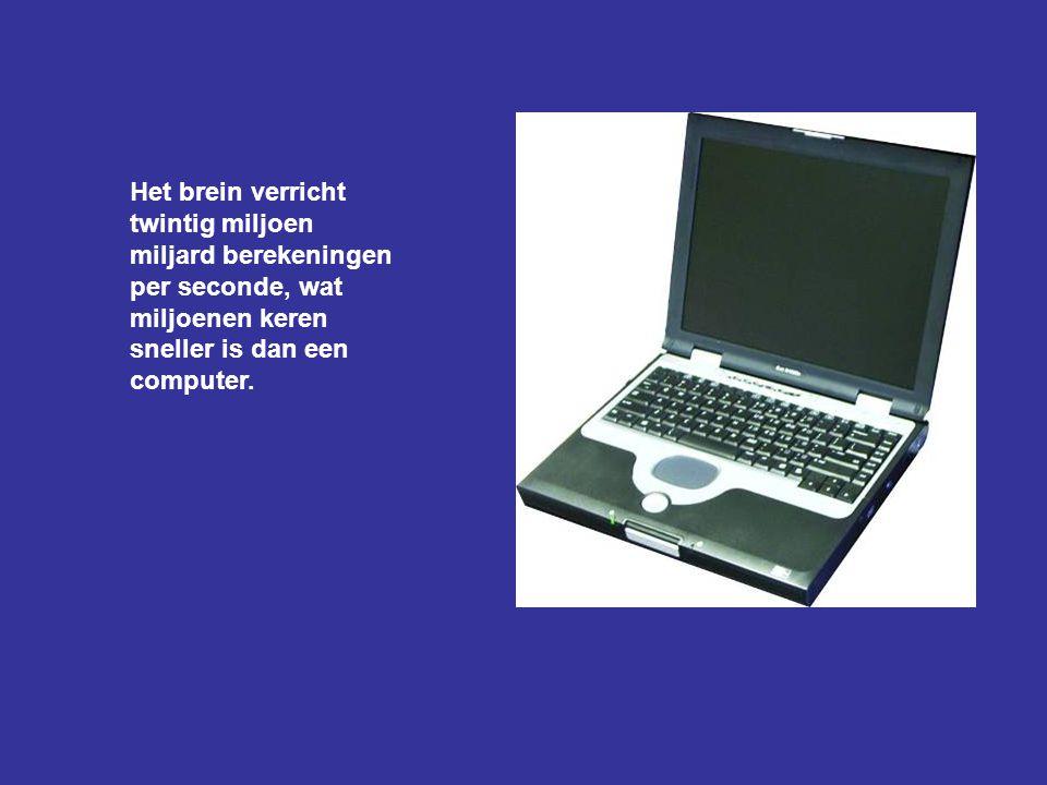 Het brein verricht twintig miljoen miljard berekeningen per seconde, wat miljoenen keren sneller is dan een computer.