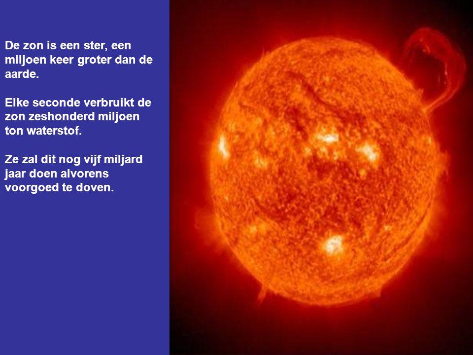 De zon is een ster, een miljoen keer groter dan de aarde.