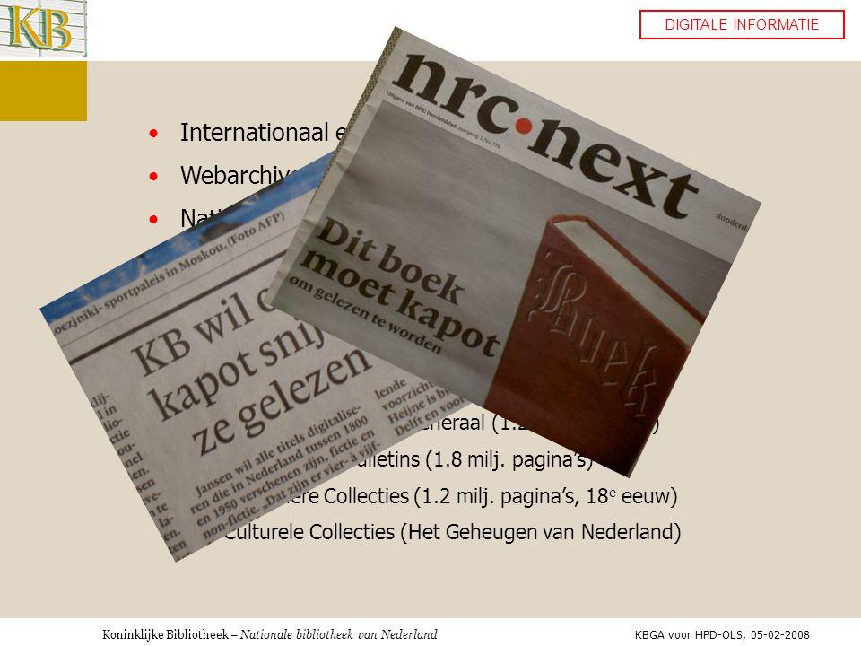 Internationaal e-Depot Webarchivering Nationaal e-Depot