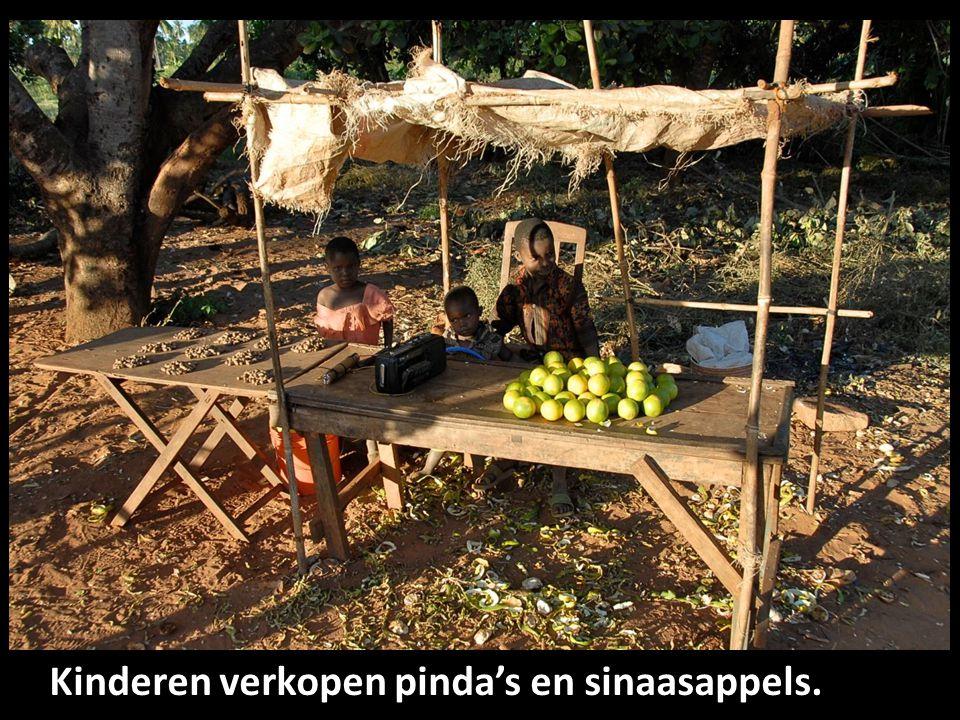 Kinderen verkopen pinda's en sinaasappels.