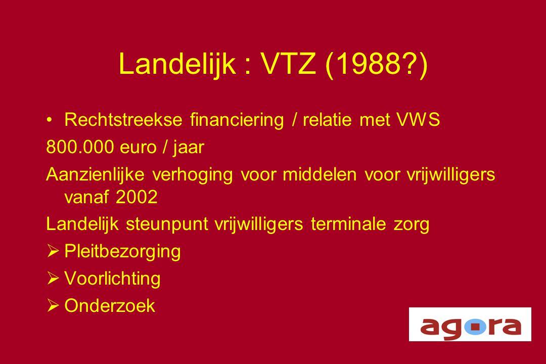 Landelijk : VTZ (1988 ) Rechtstreekse financiering / relatie met VWS