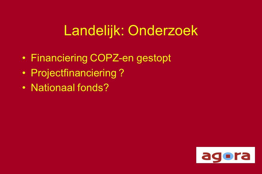 Landelijk: Onderzoek Financiering COPZ-en gestopt