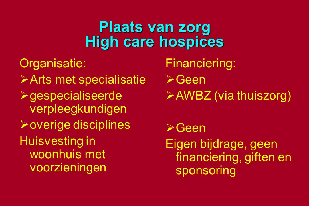 Plaats van zorg High care hospices