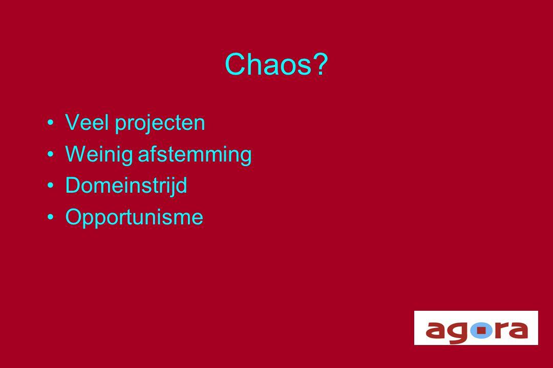 Chaos Veel projecten Weinig afstemming Domeinstrijd Opportunisme