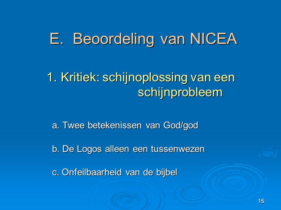 E. Beoordeling van NICEA