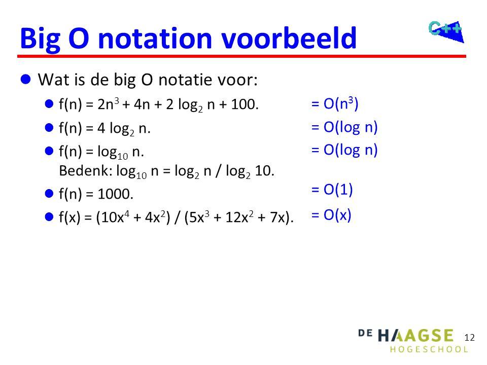 Big O notation voorbeeld