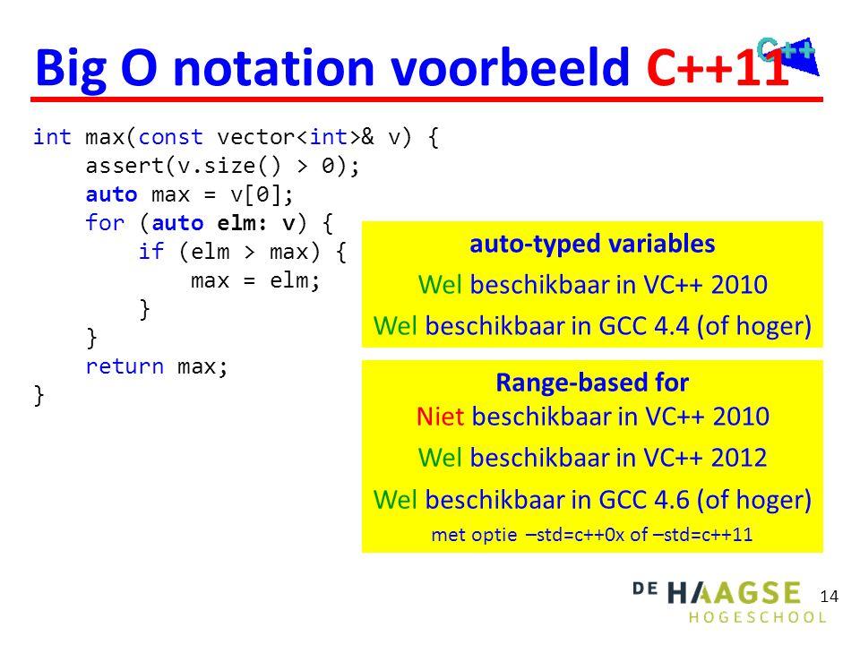 Big O notation voorbeeld C++11