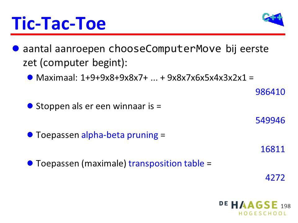 Tic-Tac-Toe aantal aanroepen en execution time chooseComputerMove bij eerste en derde zet (computer begint):