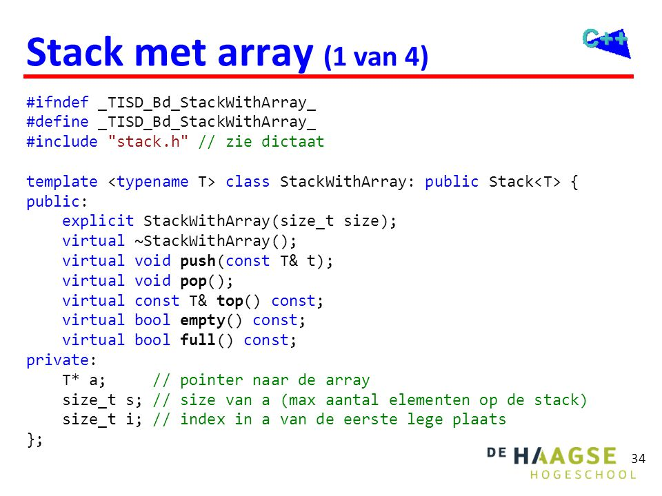Stack met array (1 van 4) C++11