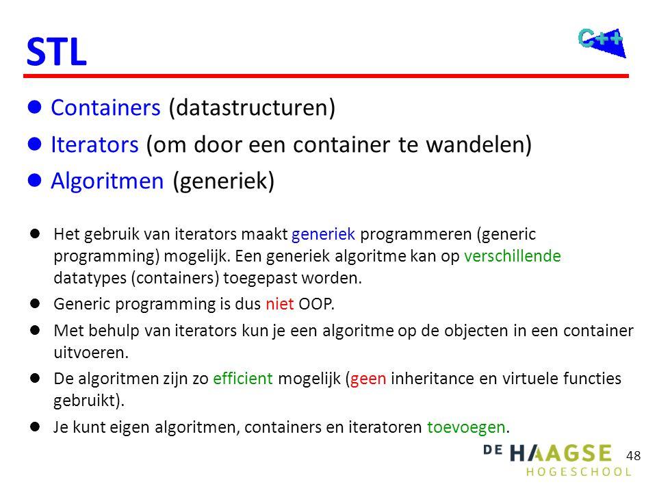 STL componenten C = container. A = algoritme. i = iterator.