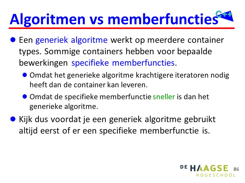 Algoritmen vs memberfuncties
