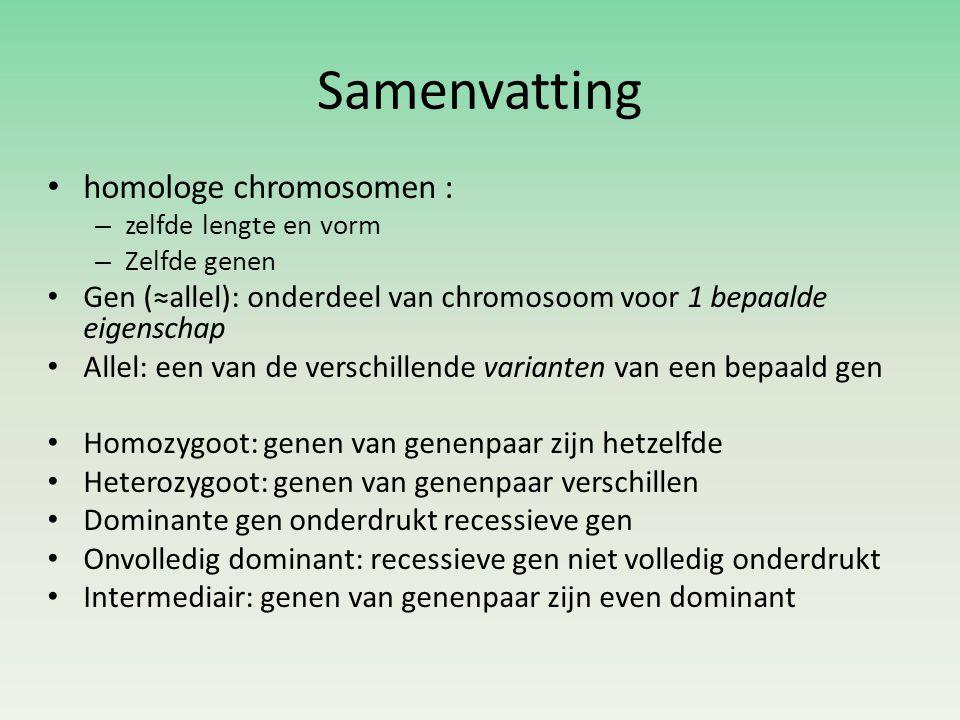 Samenvatting homologe chromosomen :