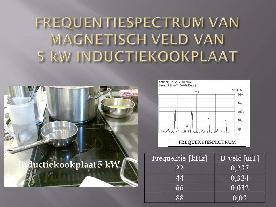 FREQUENTIESPECTRUM VAN MAGNETISCH VELD VAN 5 kW INDUCTIEKOOKPLAAT