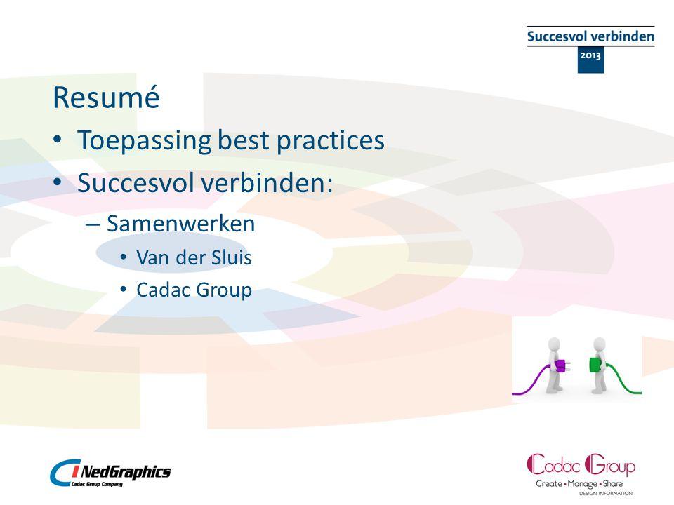 Resumé Toepassing best practices Succesvol verbinden: Samenwerken