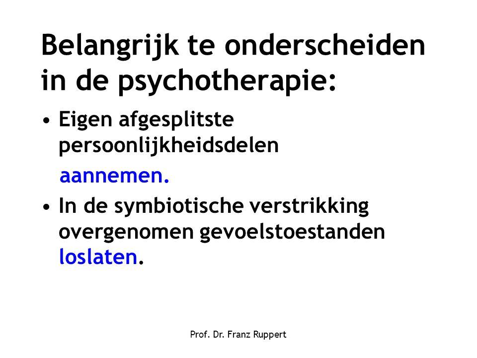Belangrijk te onderscheiden in de psychotherapie: