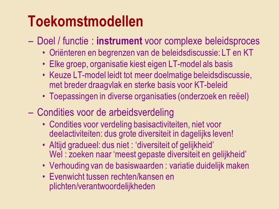 Toekomstmodellen Doel / functie : instrument voor complexe beleidsproces. Oriënteren en begrenzen van de beleidsdiscussie: LT en KT.