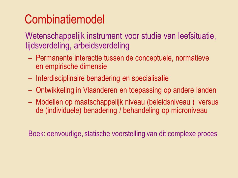 Combinatiemodel Wetenschappelijk instrument voor studie van leefsituatie, tijdsverdeling, arbeidsverdeling.