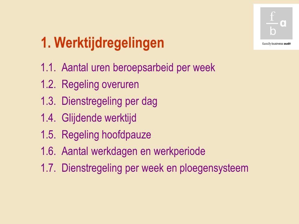1. Werktijdregelingen 1.1. Aantal uren beroepsarbeid per week