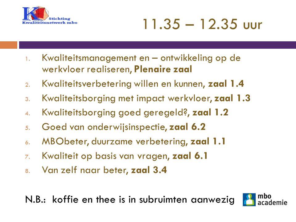 11.35 – 12.35 uur N.B.: koffie en thee is in subruimten aanwezig