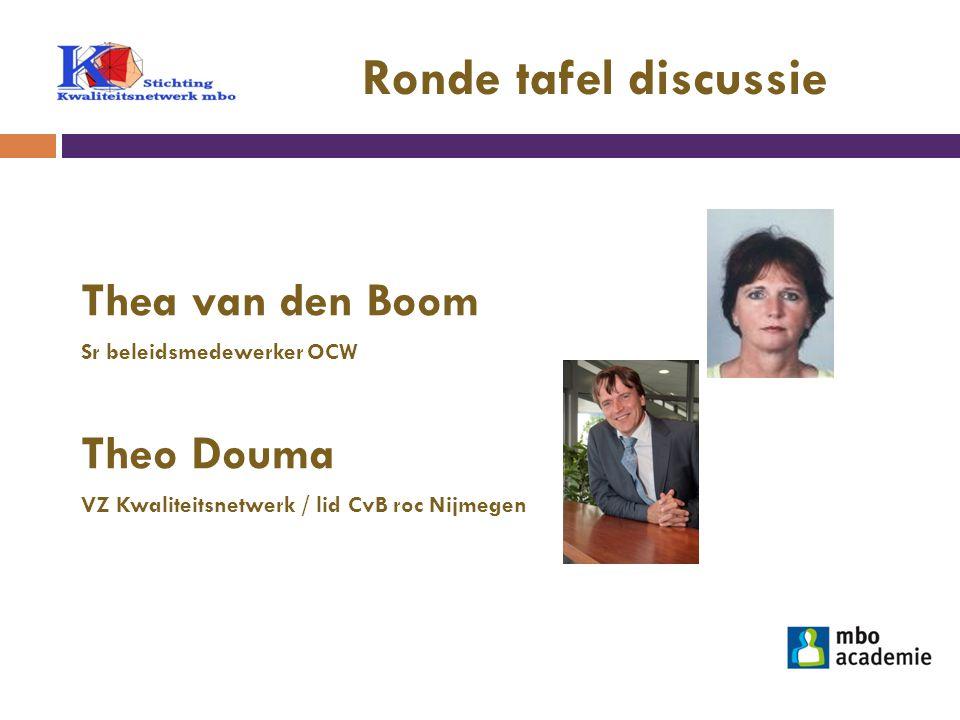 Ronde tafel discussie Thea van den Boom Theo Douma